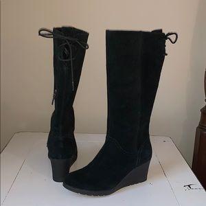 UGG dawna heeled boot black waterproof suede 7.5